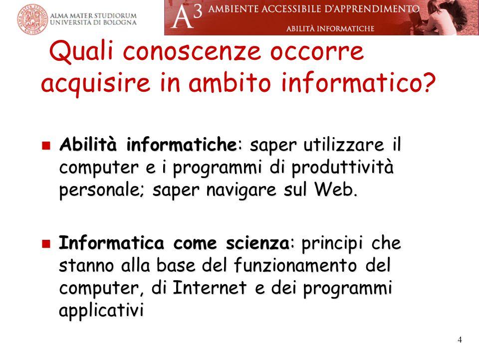 Quali conoscenze occorre acquisire in ambito informatico.