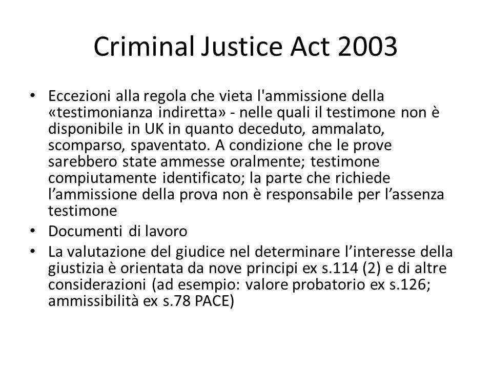 Criminal Justice Act 2003 Eccezioni alla regola che vieta l'ammissione della «testimonianza indiretta» - nelle quali il testimone non è disponibile in