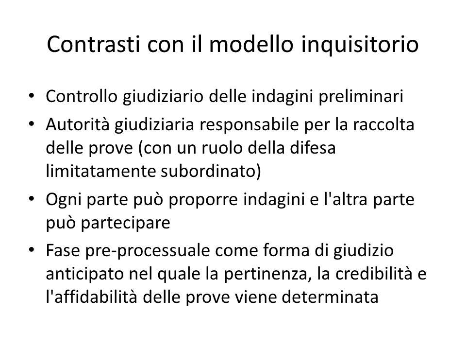 Contrasti con il modello inquisitorio Controllo giudiziario delle indagini preliminari Autorità giudiziaria responsabile per la raccolta delle prove (