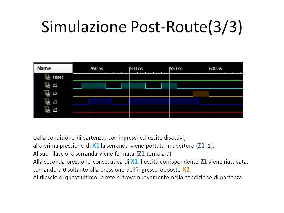 Simulazione Post-Route(3/3) Dalla condizione di partenza, con ingressi ed uscite disattivi, alla prima pressione di X1 la serranda viene portata in ap