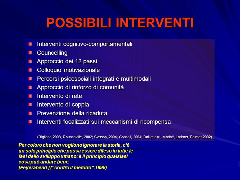 POSSIBILI INTERVENTI Interventi cognitivo-comportamentali Councelling Approccio dei 12 passi Colloquio motivazionale Percorsi psicosociali integrati e multimodali Approccio di rinforzo di comunità Intervento di rete Intervento di coppia Prevenzione della ricaduta Interventi focalizzati sui meccanismi di ricompensa (Rigliano 2008, Rounsaville, 2002; Gossop, 2004; Consoli, 2004; Ball et altri, Marlatt, Larimer, Palmer 2002) (Rigliano 2008, Rounsaville, 2002; Gossop, 2004; Consoli, 2004; Ball et altri, Marlatt, Larimer, Palmer 2002) Per coloro che non vogliono ignorare la storia, cè un solo principio che possa essere difeso in tutte le fasi dello sviluppo umano: è il principio qualsiasi cosa può andare bene.