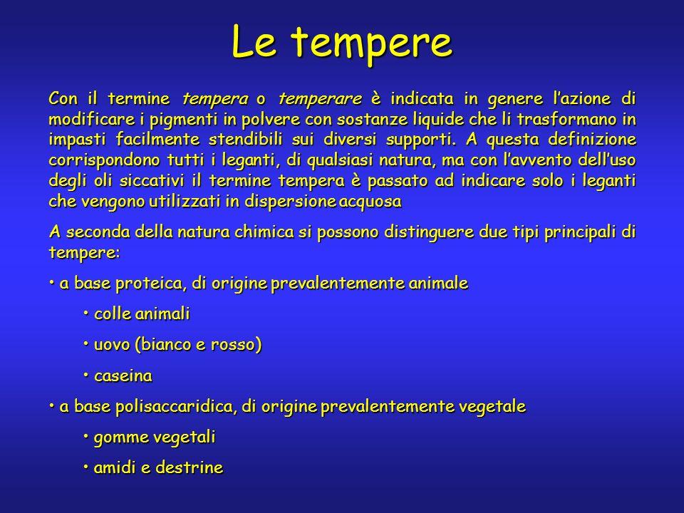 Le tempere Con il termine tempera o temperare è indicata in genere lazione di modificare i pigmenti in polvere con sostanze liquide che li trasformano in impasti facilmente stendibili sui diversi supporti.