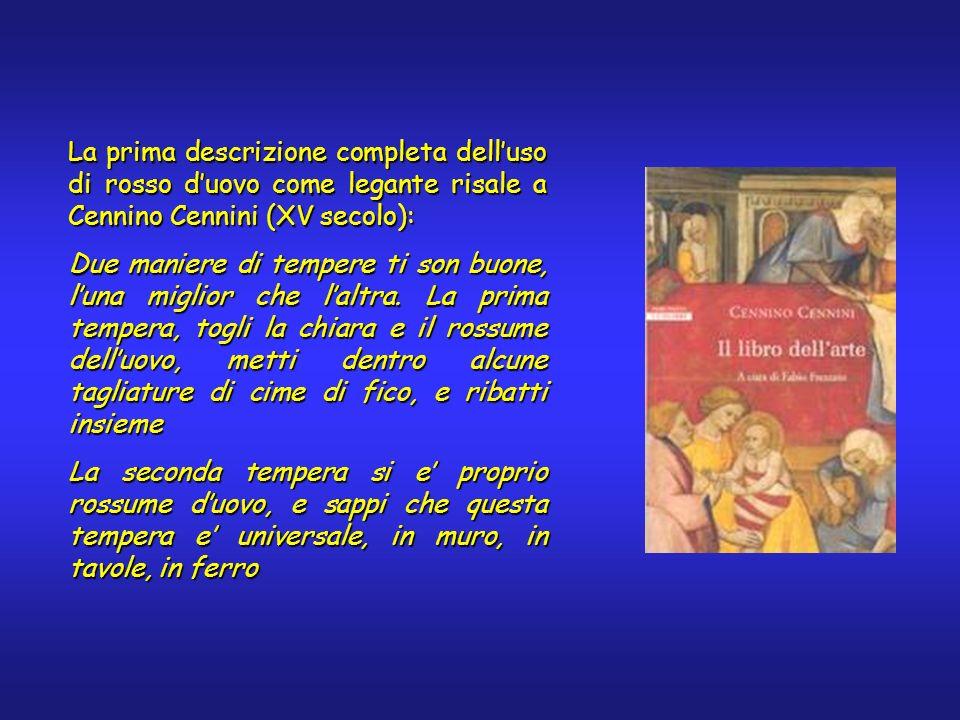La prima descrizione completa delluso di rosso duovo come legante risale a Cennino Cennini (XV secolo): Due maniere di tempere ti son buone, luna migl