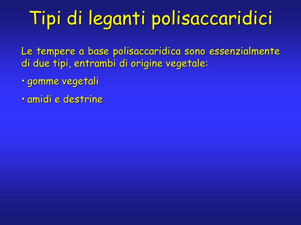 Tipi di leganti polisaccaridici Le tempere a base polisaccaridica sono essenzialmente di due tipi, entrambi di origine vegetale: gomme vegetaligomme vegetali amidi e destrineamidi e destrine