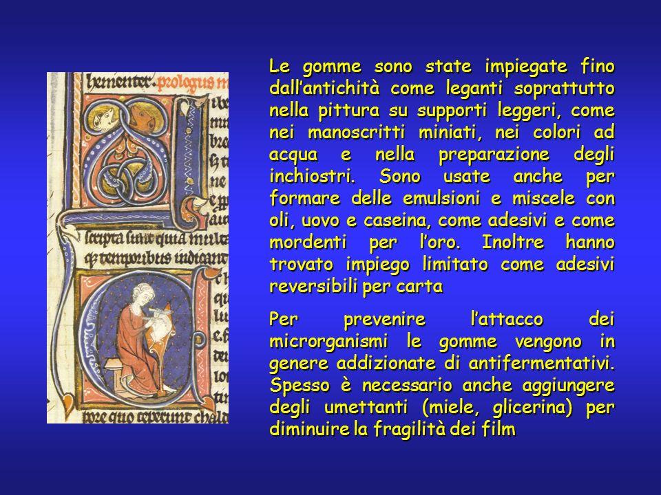 Le gomme sono state impiegate fino dallantichità come leganti soprattutto nella pittura su supporti leggeri, come nei manoscritti miniati, nei colori