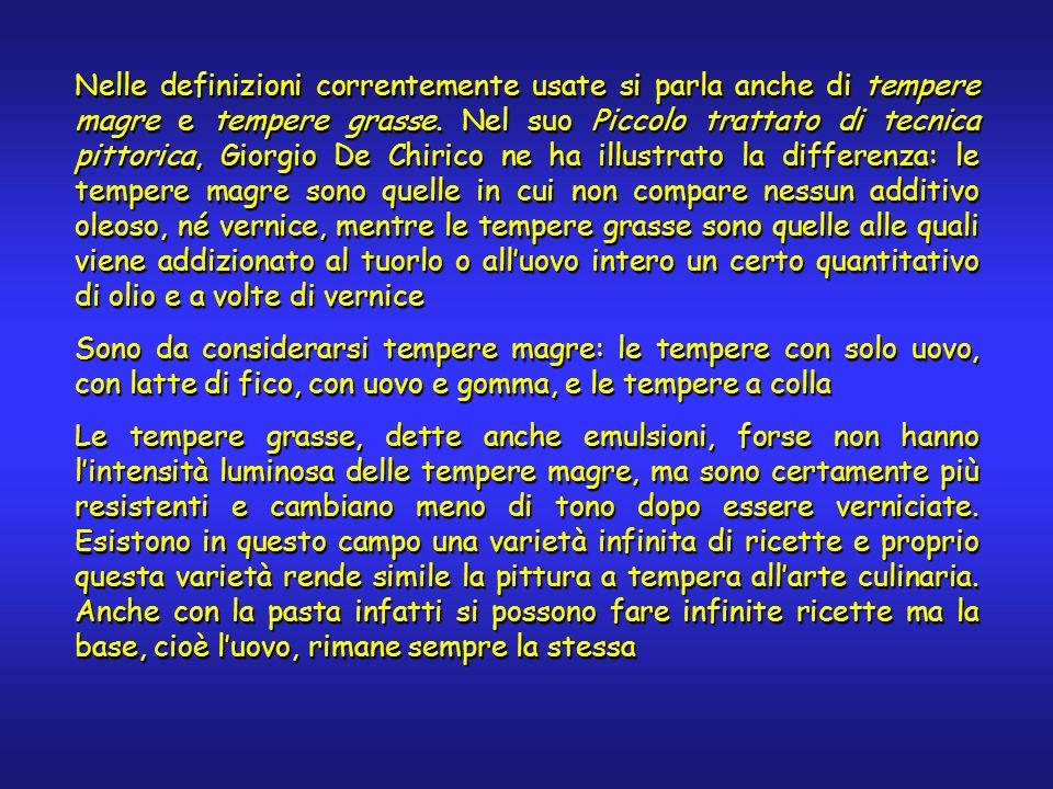 Nelle definizioni correntemente usate si parla anche di tempere magre e tempere grasse. Nel suo Piccolo trattato di tecnica pittorica, Giorgio De Chir