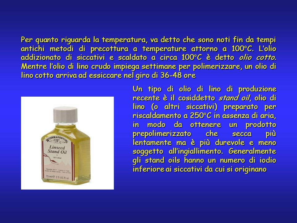 Per quanto riguarda la temperatura, va detto che sono noti fin da tempi antichi metodi di precottura a temperature attorno a 100°C. Lolio addizionato