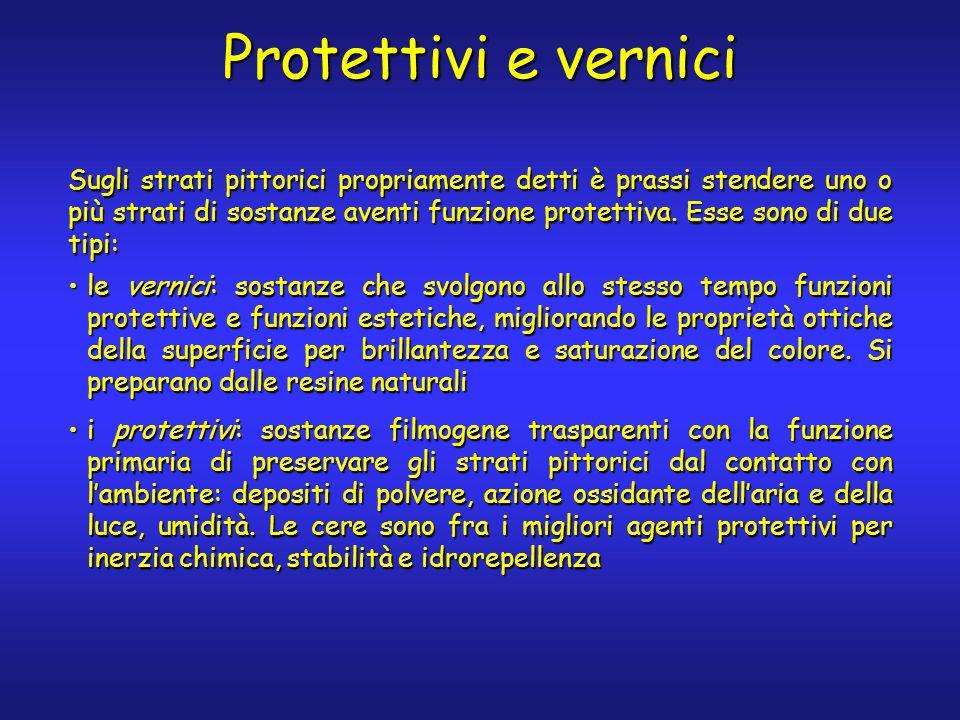 Protettivi e vernici Sugli strati pittorici propriamente detti è prassi stendere uno o più strati di sostanze aventi funzione protettiva. Esse sono di