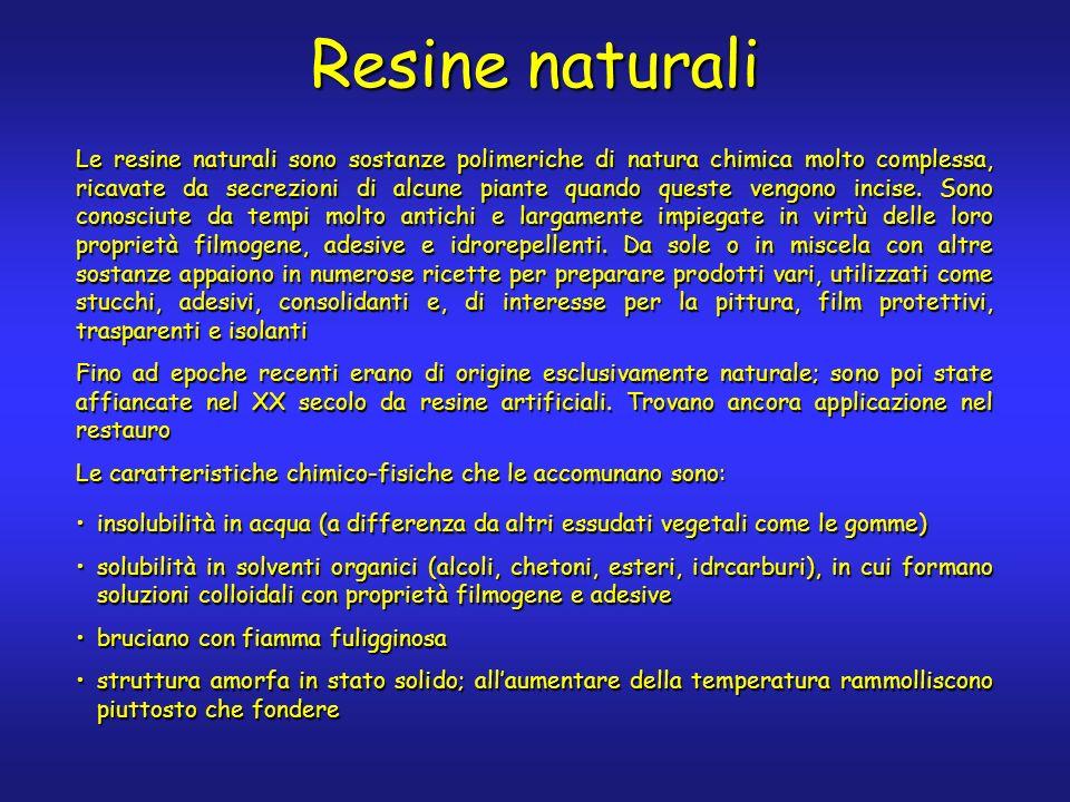 Resine naturali Le resine naturali sono sostanze polimeriche di natura chimica molto complessa, ricavate da secrezioni di alcune piante quando queste vengono incise.