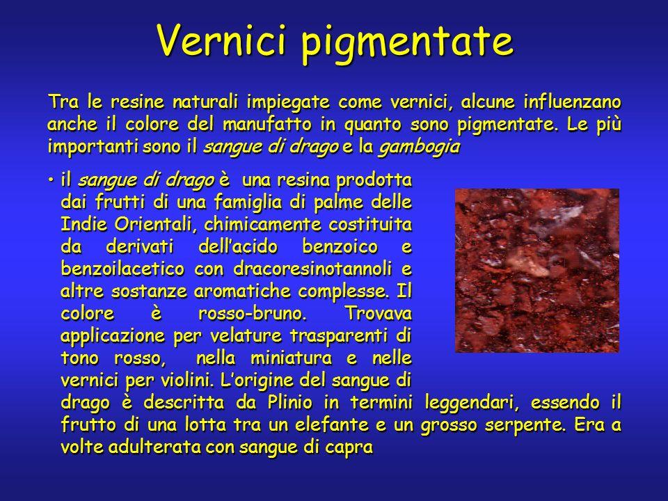 Vernici pigmentate Tra le resine naturali impiegate come vernici, alcune influenzano anche il colore del manufatto in quanto sono pigmentate. Le più i