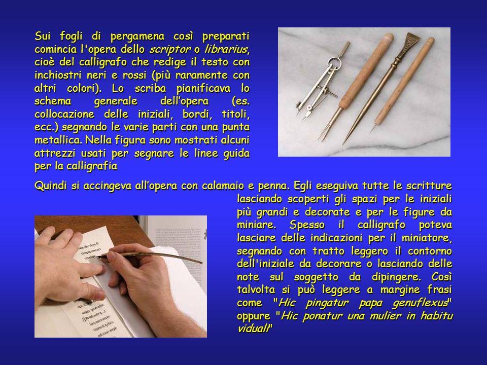 Sui fogli di pergamena così preparati comincia l'opera dello scriptor o librarius, cioè del calligrafo che redige il testo con inchiostri neri e rossi