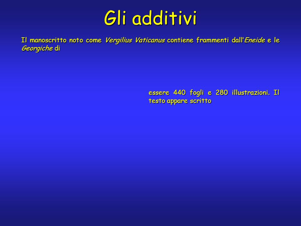 Gli additivi Il manoscritto noto come Vergilius Vaticanus contiene frammenti dallEneide e le Georgiche di essere 440 fogli e 280 illustrazioni. Il tes