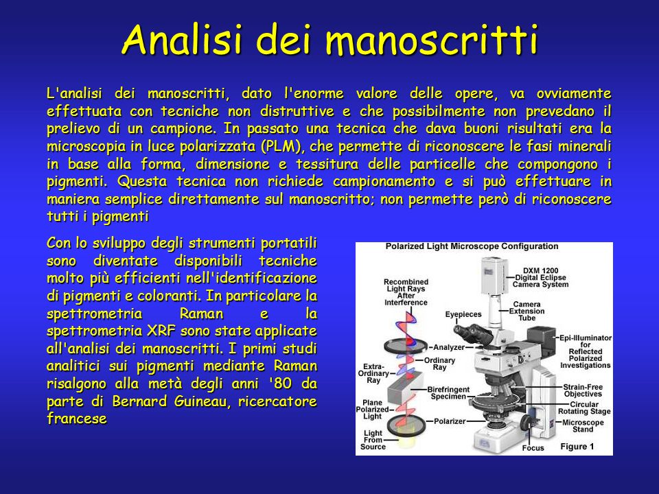 Analisi dei manoscritti L'analisi dei manoscritti, dato l'enorme valore delle opere, va ovviamente effettuata con tecniche non distruttive e che possi