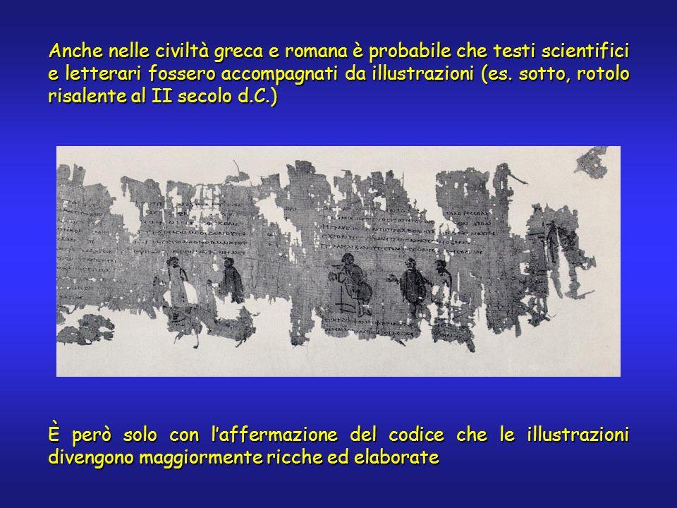 Anche nelle civiltà greca e romana è probabile che testi scientifici e letterari fossero accompagnati da illustrazioni (es. sotto, rotolo risalente al