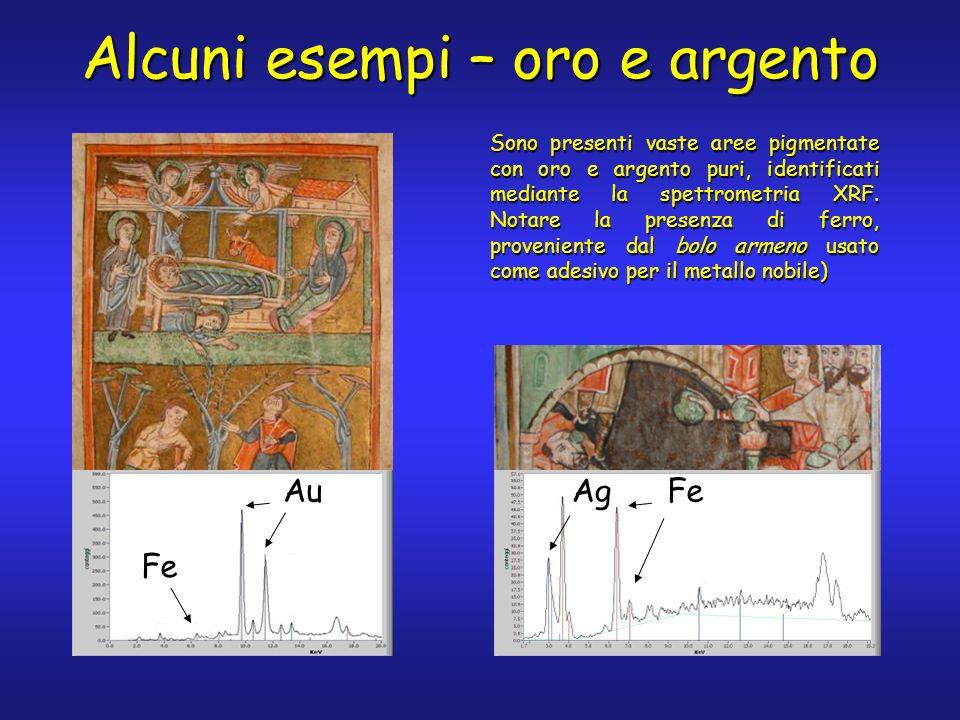 Alcuni esempi – oro e argento Sono presenti vaste aree pigmentate con oro e argento puri, identificati mediante la spettrometria XRF. Notare la presen