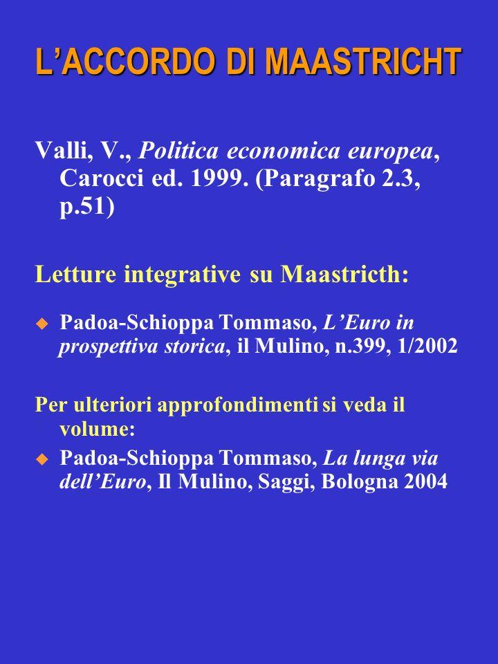 Valli, V., Politica economica europea, Carocci ed. 1999. (Paragrafo 2.3, p.51) Letture integrative su Maastricth: Padoa-Schioppa Tommaso, LEuro in pro