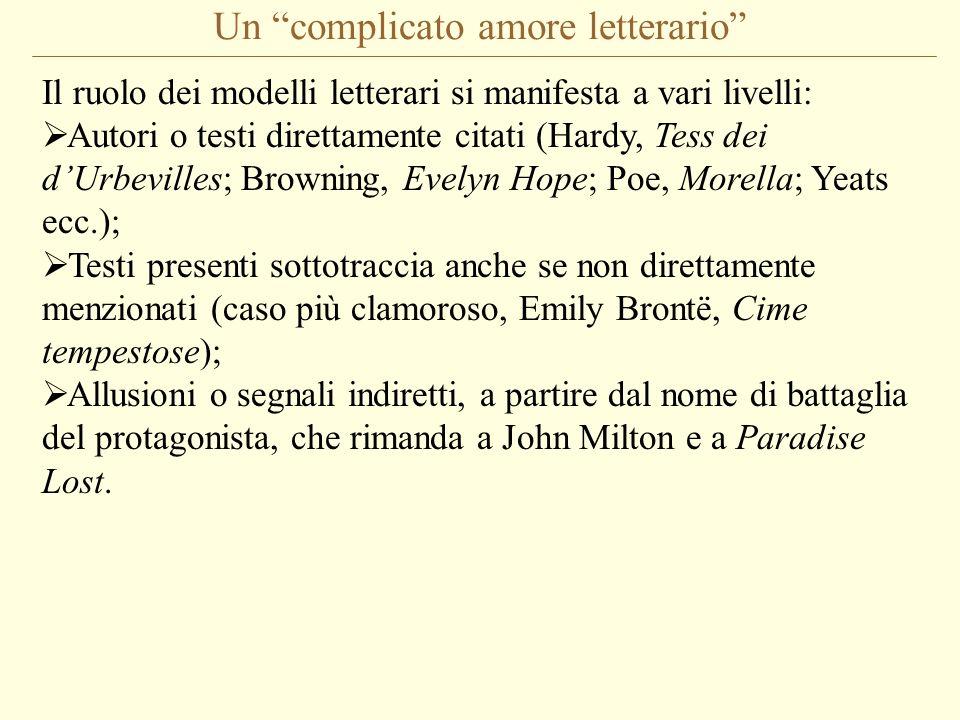 Un complicato amore letterario Il ruolo dei modelli letterari si manifesta a vari livelli: Autori o testi direttamente citati (Hardy, Tess dei dUrbevi