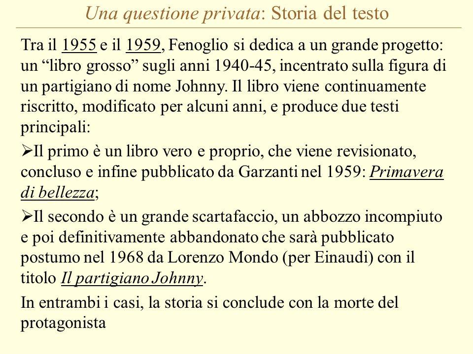 Una questione privata: Storia del testo Tra il 1955 e il 1959, Fenoglio si dedica a un grande progetto: un libro grosso sugli anni 1940-45, incentrato