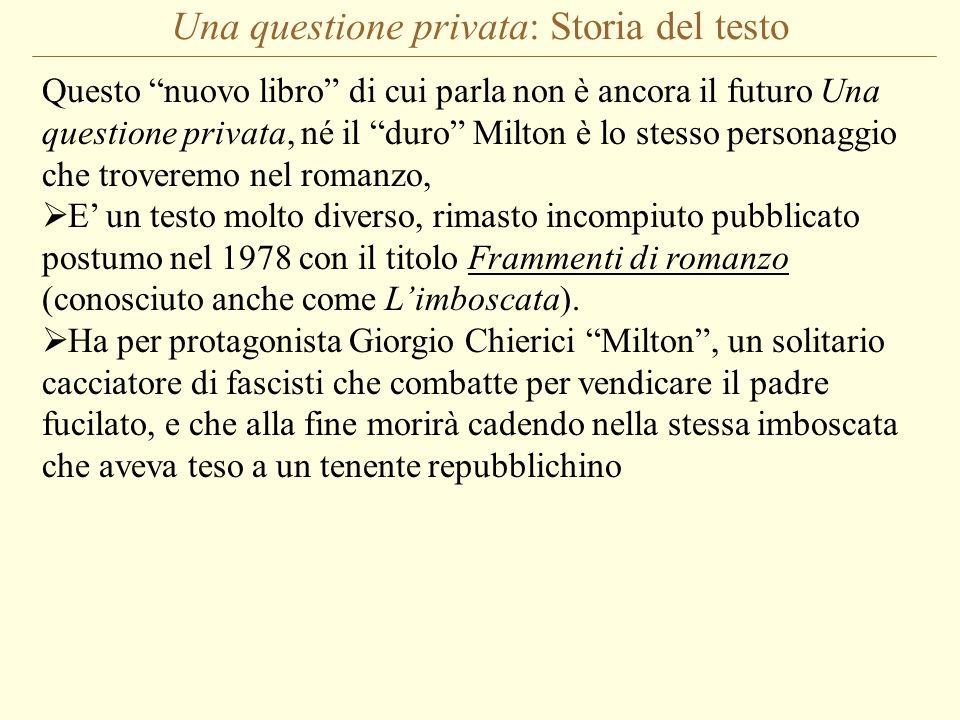 Una questione privata: Storia del testo Questo nuovo libro di cui parla non è ancora il futuro Una questione privata, né il duro Milton è lo stesso pe