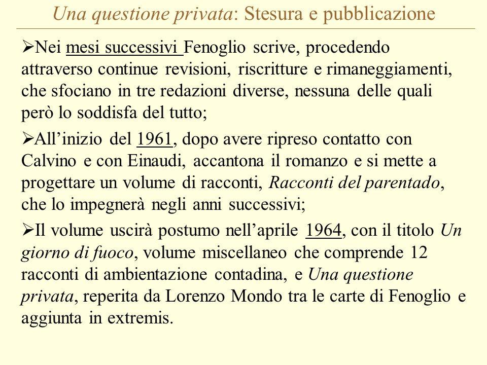 Una questione privata: Stesura e pubblicazione Nei mesi successivi Fenoglio scrive, procedendo attraverso continue revisioni, riscritture e rimaneggia