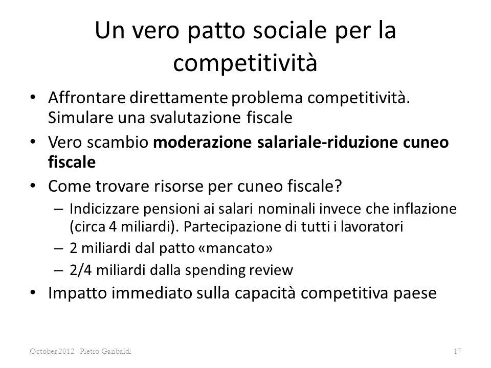 Un vero patto sociale per la competitività Affrontare direttamente problema competitività.