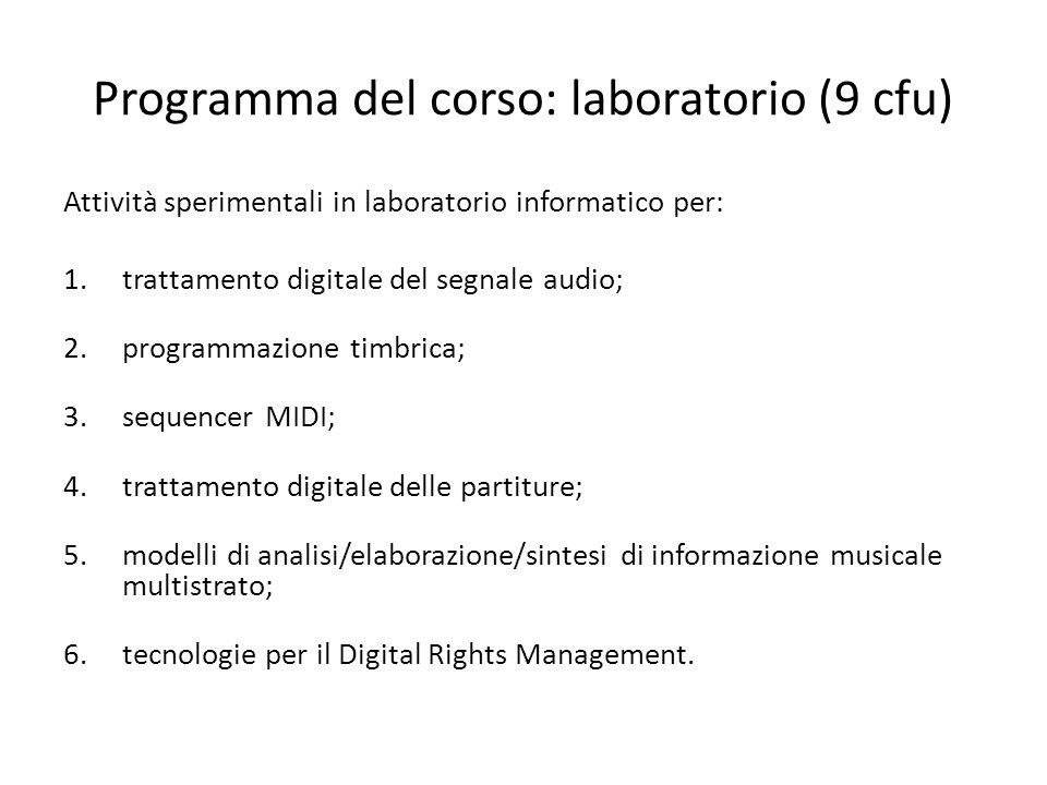 Programma del corso: laboratorio (9 cfu) Attività sperimentali in laboratorio informatico per: 1.trattamento digitale del segnale audio; 2.programmazi