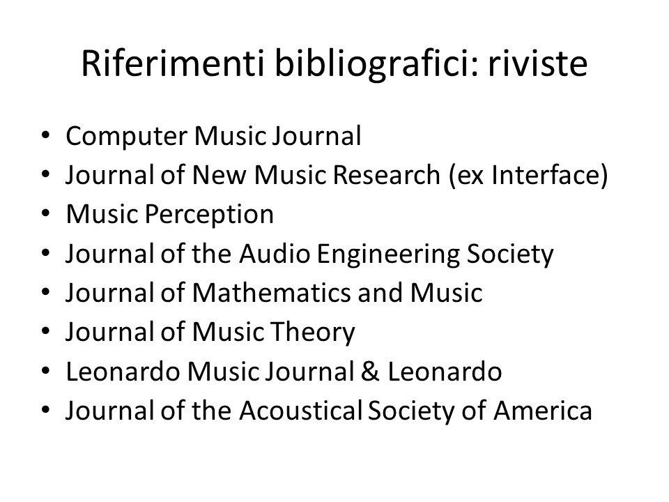 Riferimenti bibliografici: riviste Computer Music Journal Journal of New Music Research (ex Interface) Music Perception Journal of the Audio Engineeri