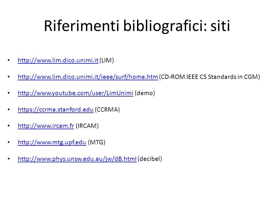 Riferimenti bibliografici: siti http://www.lim.dico.unimi.it (LIM) http://www.lim.dico.unimi.it http://www.lim.dico.unimi.it/ieee/surf/home.htm (CD-RO
