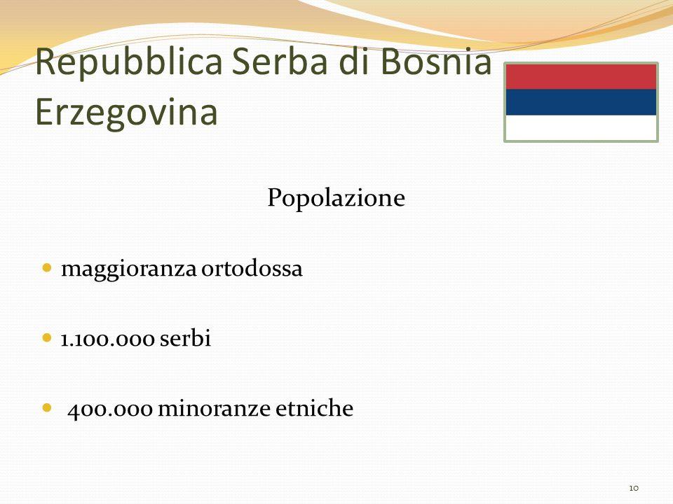 Repubblica Serba di Bosnia Erzegovina Popolazione maggioranza ortodossa 1.100.000 serbi 400.000 minoranze etniche 10