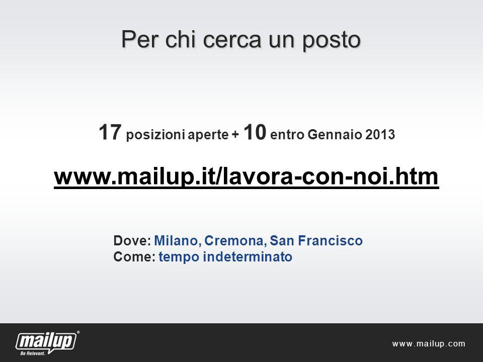 Per chi cerca un posto 17 posizioni aperte + 10 entro Gennaio 2013 www.mailup.it/lavora-con-noi.htm Dove: Milano, Cremona, San Francisco Come: tempo i