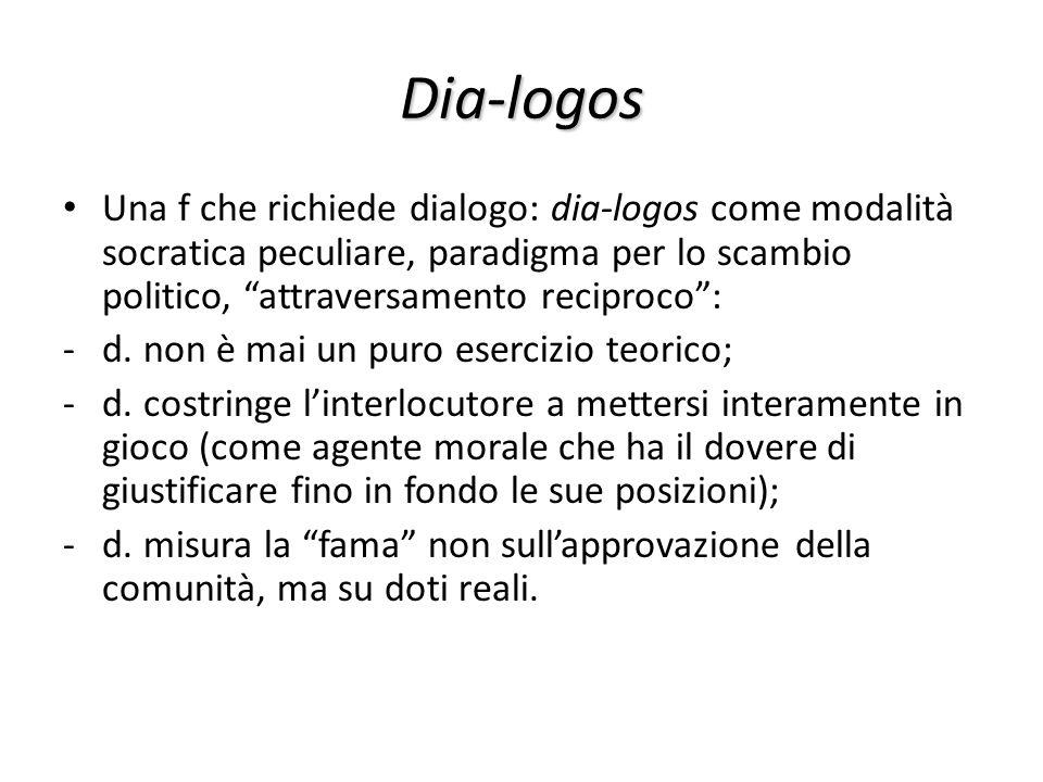 Dia-logos Una f che richiede dialogo: dia-logos come modalità socratica peculiare, paradigma per lo scambio politico, attraversamento reciproco: -d. n