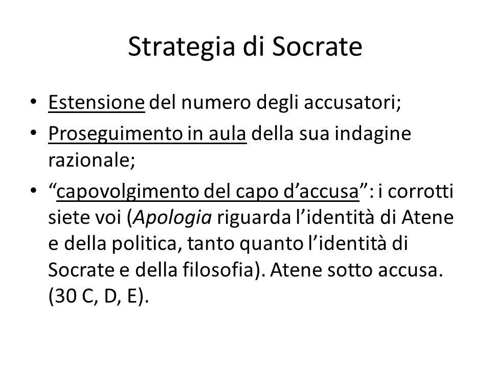 Strategia di Socrate Estensione del numero degli accusatori; Proseguimento in aula della sua indagine razionale; capovolgimento del capo daccusa: i co