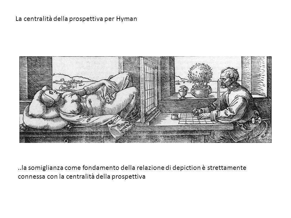 La centralità della prospettiva per Hyman..la somiglianza come fondamento della relazione di depiction è strettamente connessa con la centralità della prospettiva