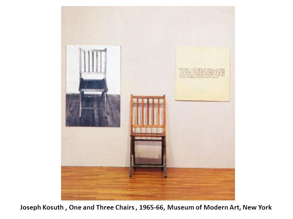 Joseph Kosuth, One and Three Chairs, 1965-66, Museum of Modern Art, New York