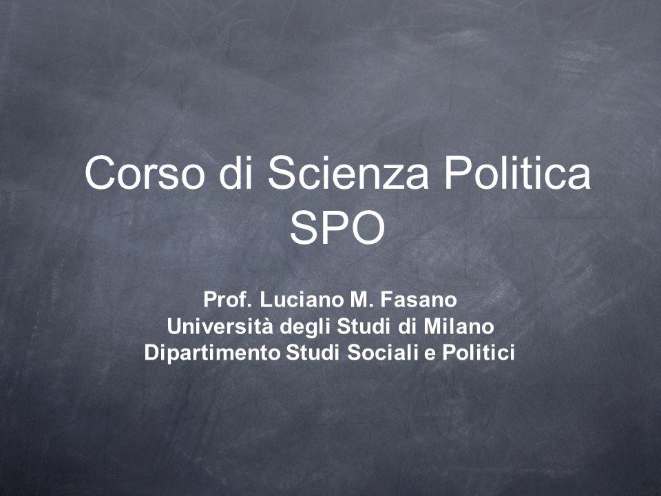 Corso di Scienza Politica SPO Prof. Luciano M. Fasano Università degli Studi di Milano Dipartimento Studi Sociali e Politici