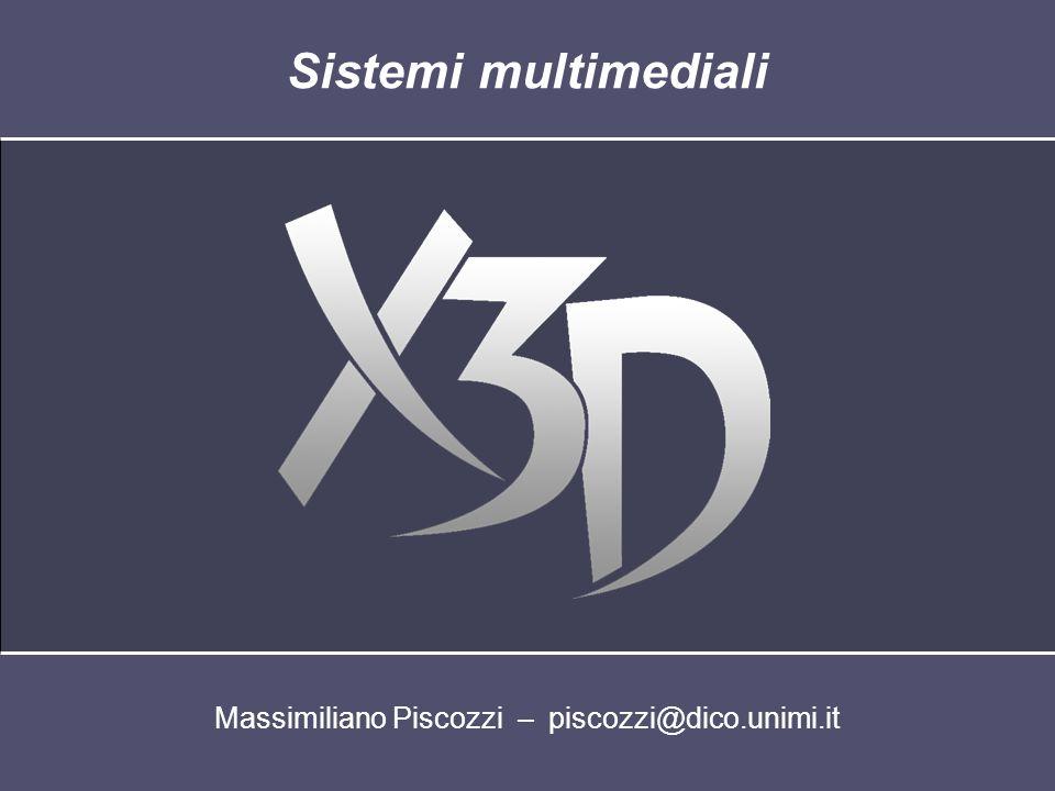 Prototipi (3) La definizione di un prototipo può essere contenuta in un file diverso da quello in cui vengono create le istanze File A File X3D-XML contenente la dichiarazione di uno o più prototipi File B File X3D-XML contenente la dichiarazione di uno o più prototipi File C File X3D-XML contenente la dichiarazione di uno o più prototipi File D File X3D-XML che utilizza istanze di prototipi definiti esternamente Maggiore riusabilità dei nodi definiti dallutente Semplificazione nella scrittura dei file X3D-XML