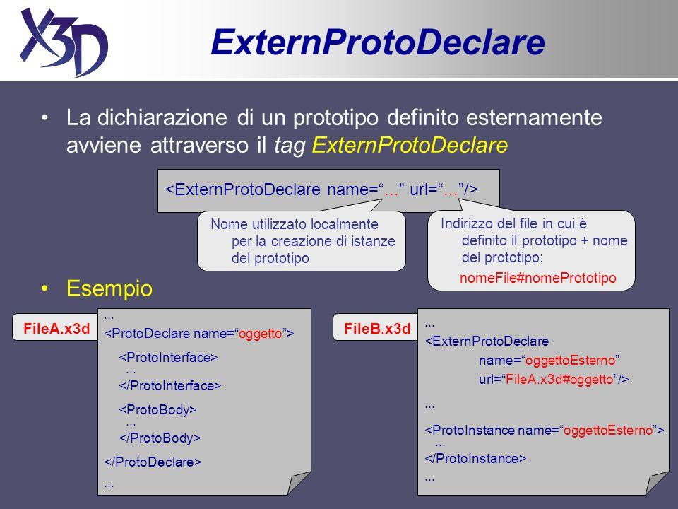 Esempio (4) Funzioni definite allinterno del nodo Script function state(value) {} function touchTime(value) { state = !state; if (state) { diffuseColor_changed = new SFColor(1, 0.2, 0.5); } else { diffuseColor_changed = new SFColor(0.2, 1, 0.5); } function isOver(value) { if (value) { emissiveColor_changed = new SFColor(0.2, 0.2, 0.2); } else { emissiveColor_changed = new SFColor(0, 0, 0); }