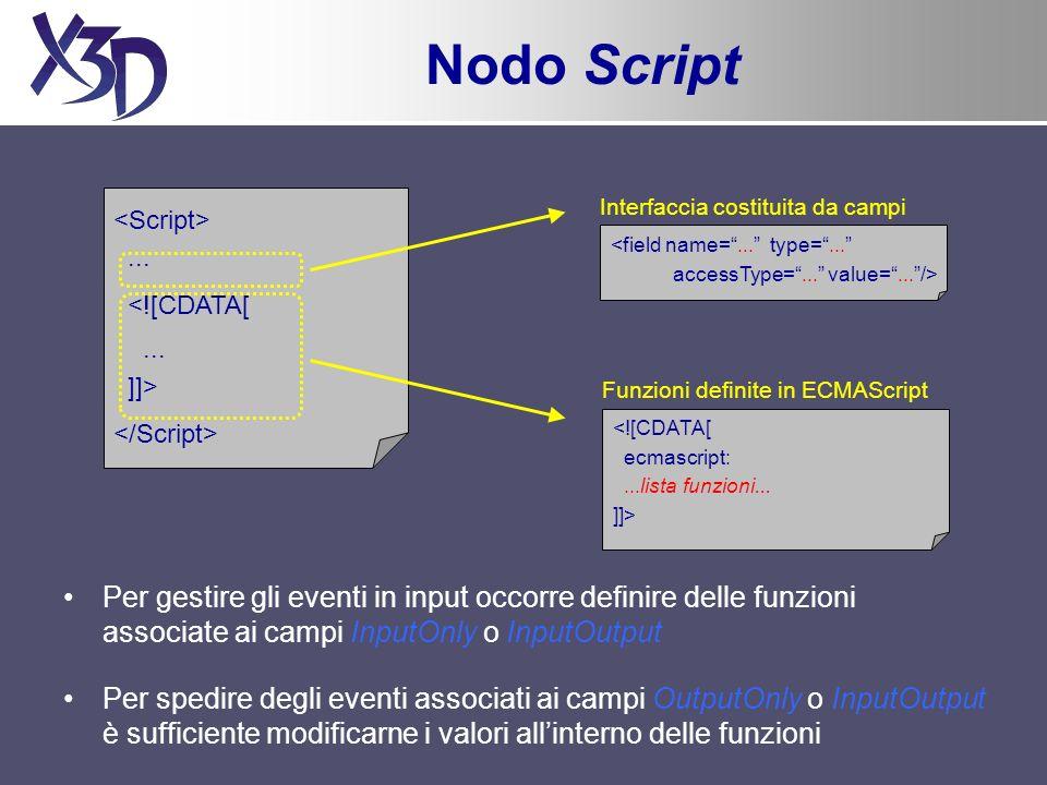 Nodo Script Per gestire gli eventi in input occorre definire delle funzioni associate ai campi InputOnly o InputOutput Per spedire degli eventi associ
