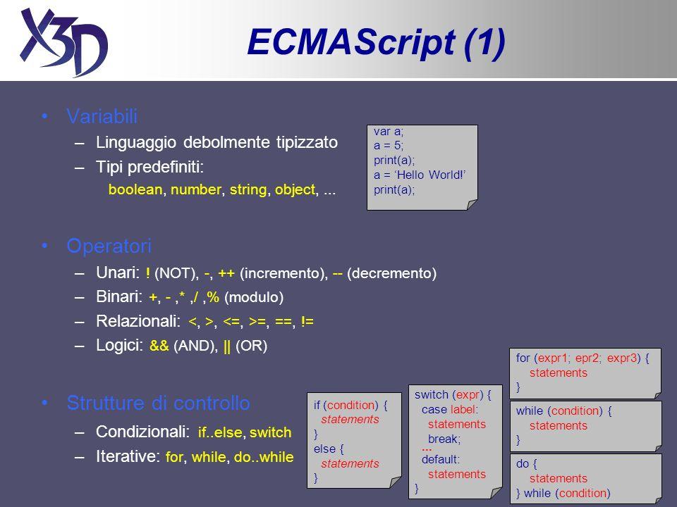 ECMAScript (2) Funzioni –Non occorre specificare il tipo del valore restituito Oggetto Array –Array dinamico costituito da elementi di qualsiasi tipo –Proprietà: length Oggetto Math –Oggetto globale: non va istanziato tramite new –Costanti matematiche (proprietà): PI, E, SQRT2, LN2, LN10,...