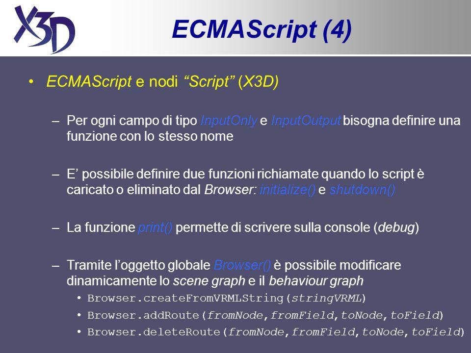 ECMAScript (4) ECMAScript e nodi Script (X3D) –Per ogni campo di tipo InputOnly e InputOutput bisogna definire una funzione con lo stesso nome –E poss