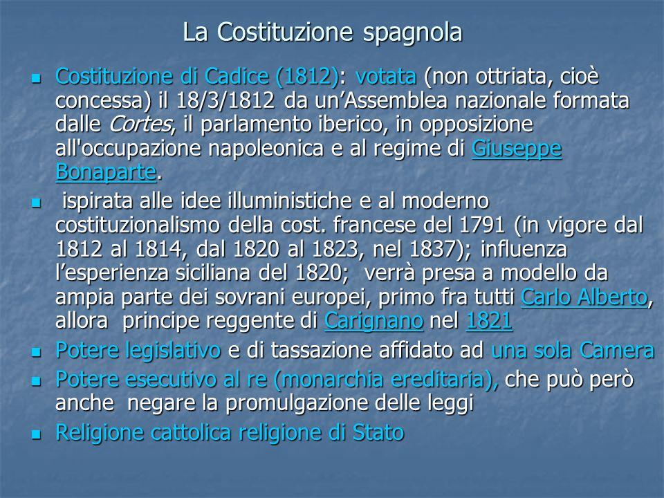 La Costituzione spagnola Costituzione di Cadice (1812): votata (non ottriata, cioè concessa) il 18/3/1812 da unAssemblea nazionale formata dalle Corte