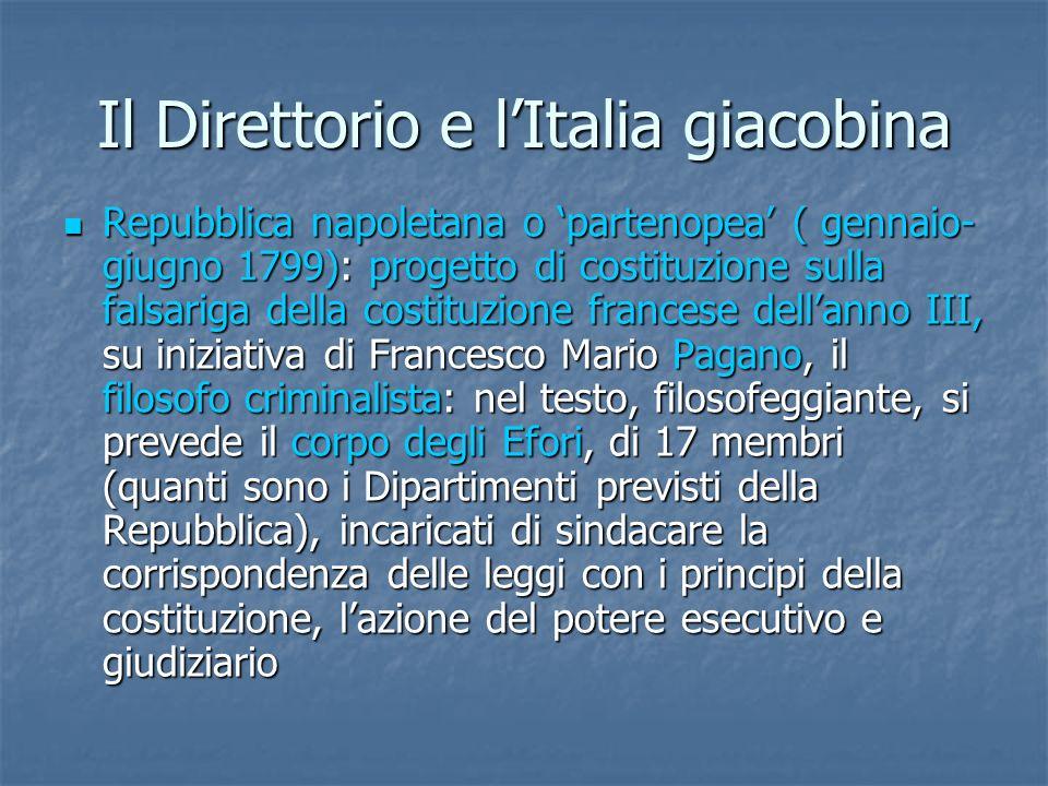 Il Direttorio e lItalia giacobina Repubblica napoletana o partenopea ( gennaio- giugno 1799): progetto di costituzione sulla falsariga della costituzi