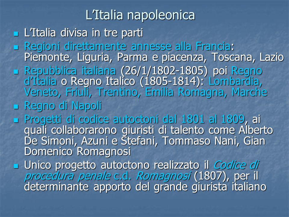 LItalia napoleonica LItalia divisa in tre parti LItalia divisa in tre parti Regioni direttamente annesse alla Francia: Piemonte, Liguria, Parma e piac