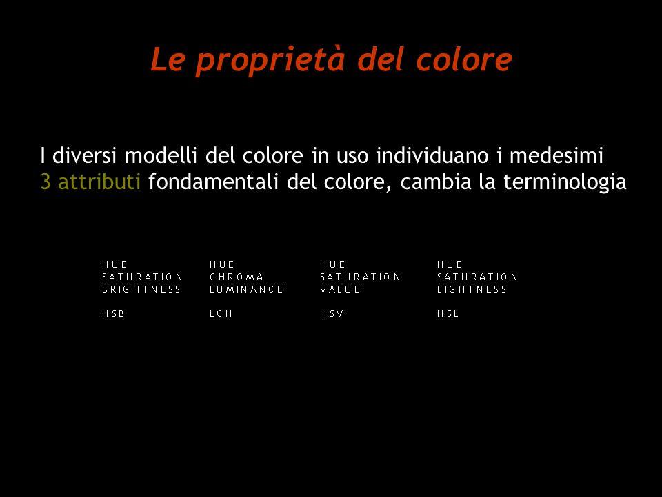 Le proprietà del colore I diversi modelli del colore in uso individuano i medesimi 3 attributi fondamentali del colore, cambia la terminologia