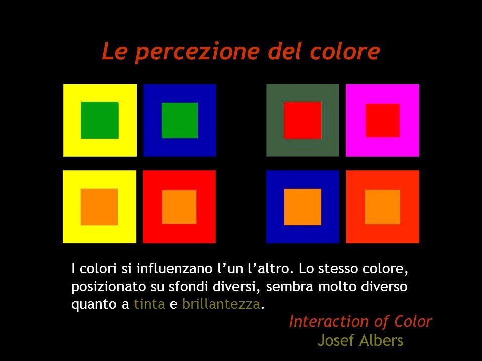 Le percezione del colore I colori si influenzano lun laltro. Lo stesso colore, posizionato su sfondi diversi, sembra molto diverso quanto a tinta e br