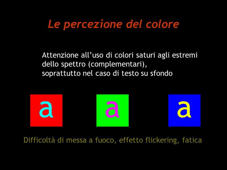 Le percezione del colore Attenzione alluso di colori saturi agli estremi dello spettro (complementari), soprattutto nel caso di testo su sfondo Diffic