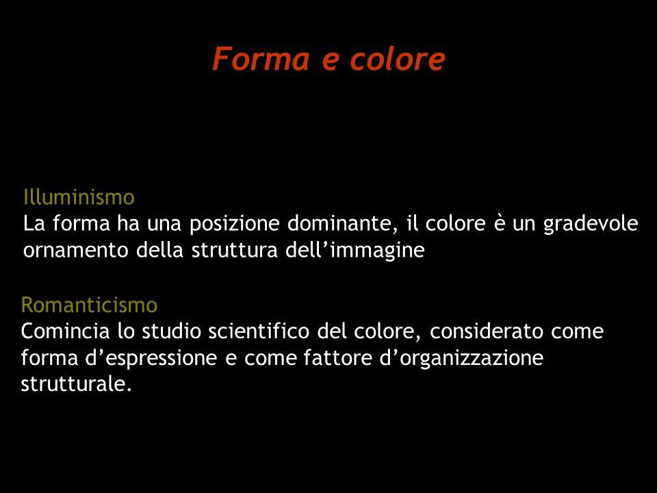 Forma e colore Illuminismo La forma ha una posizione dominante, il colore è un gradevole ornamento della struttura dellimmagine Romanticismo Comincia