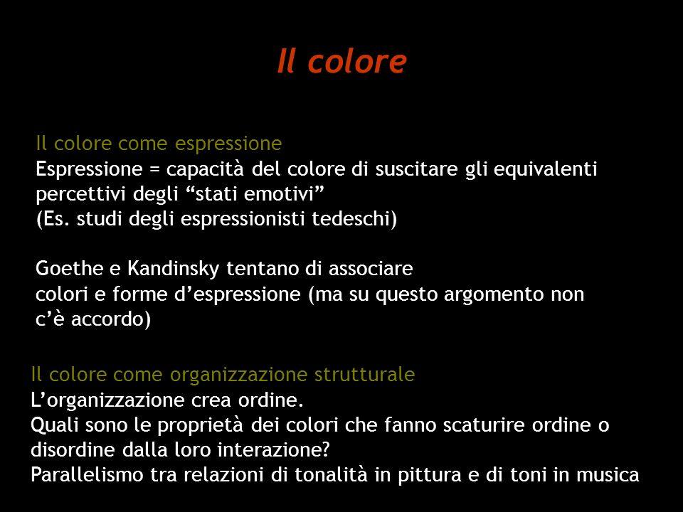 Il colore Il colore come espressione Espressione = capacità del colore di suscitare gli equivalenti percettivi degli stati emotivi (Es. studi degli es