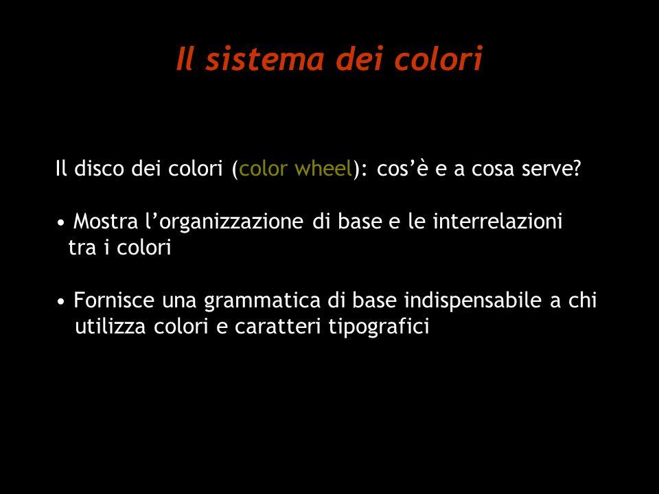 Il sistema dei colori Il disco dei colori (color wheel): cosè e a cosa serve? Mostra lorganizzazione di base e le interrelazioni tra i colori Fornisce