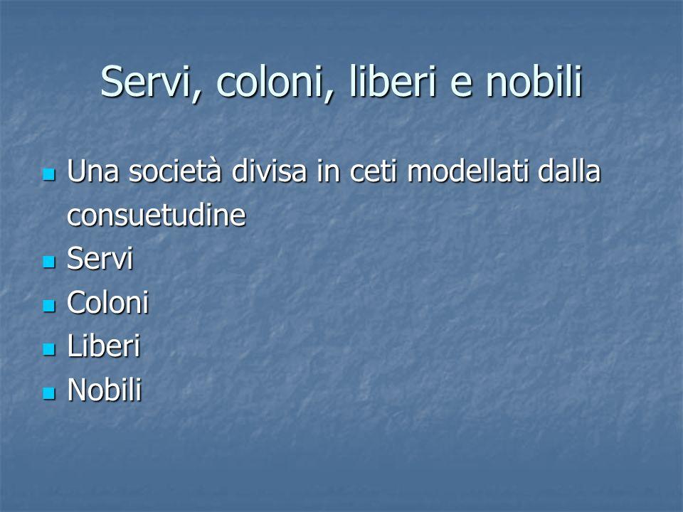 Servi, coloni, liberi e nobili Una società divisa in ceti modellati dalla Una società divisa in ceti modellati dallaconsuetudine Servi Servi Coloni Coloni Liberi Liberi Nobili Nobili